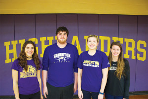 Milestone-acheiving student athletes from left to right: Hattie Burgher '16, Tyler McQuade '15, Maisie Pipher 16' and Jennifer Zacchigna.
